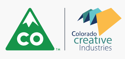 Green mountain with Colorado initials. Colorful shape with Colorado Creative Industries