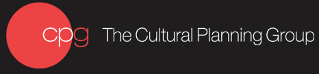 Black background with a red circle shape and organizations name The Cultural Planning Group