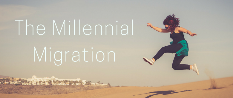 A woman jumping above sand with words that read the millennial migration.