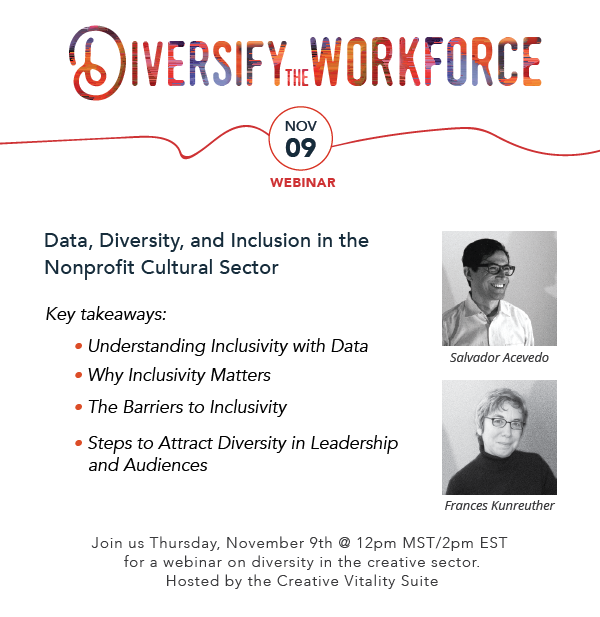 white space that displays Salvador Acevedo headshot and Frances Kunreuther. Diversify the Workforce webinar