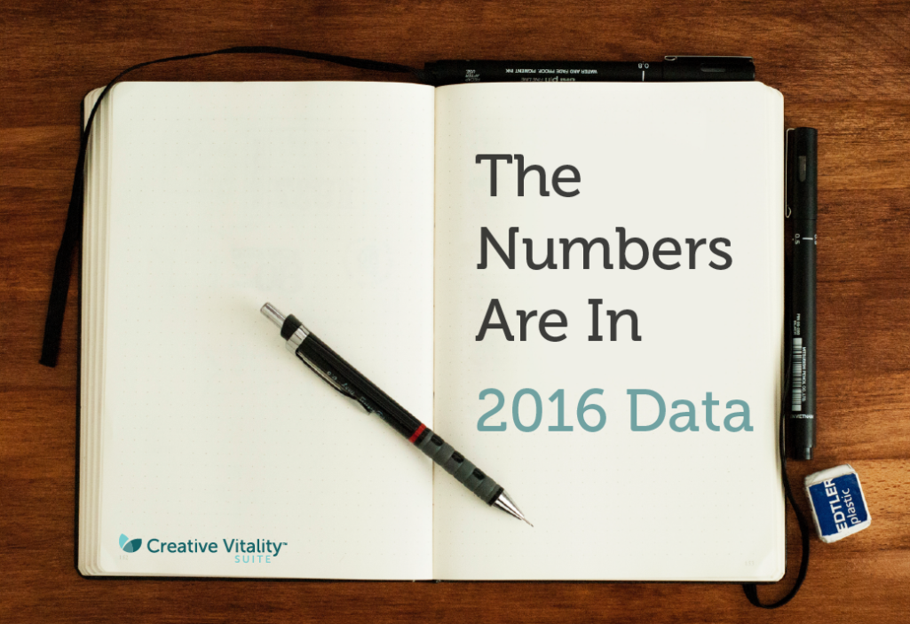 An empty journal sits open on a table with a pen on it. The text reads The numbers are in 2016 Data