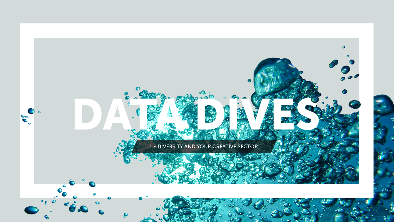 Waves in the background with a white rectangle in the forefront and text that reads Data Dives Diversity and Your Creative Sector