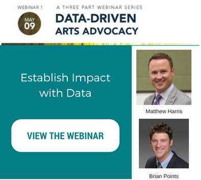 Text that reads establish impact with data. To view the webinar click on the image. Images of Matthew Harris and Brian Points.