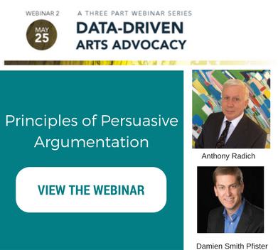 Text that reads principles of persuasive argumentation. Image links to the webinar blog post. Headshots of Anthony Radich and Damien SMith Pfister.