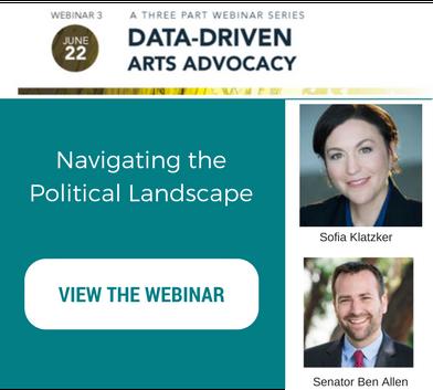 Text that reads navigating the political landscape. Image links to the blog post that has this webinar. Headshots of Sofia Klatzker and Senator Ben Allen.
