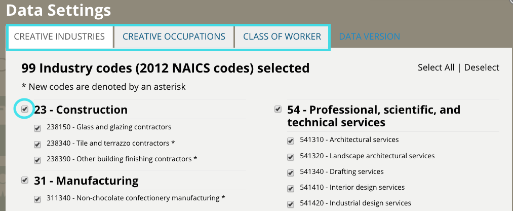 Screenshot of Data Settings page with list of industry codes and checkbox selected.