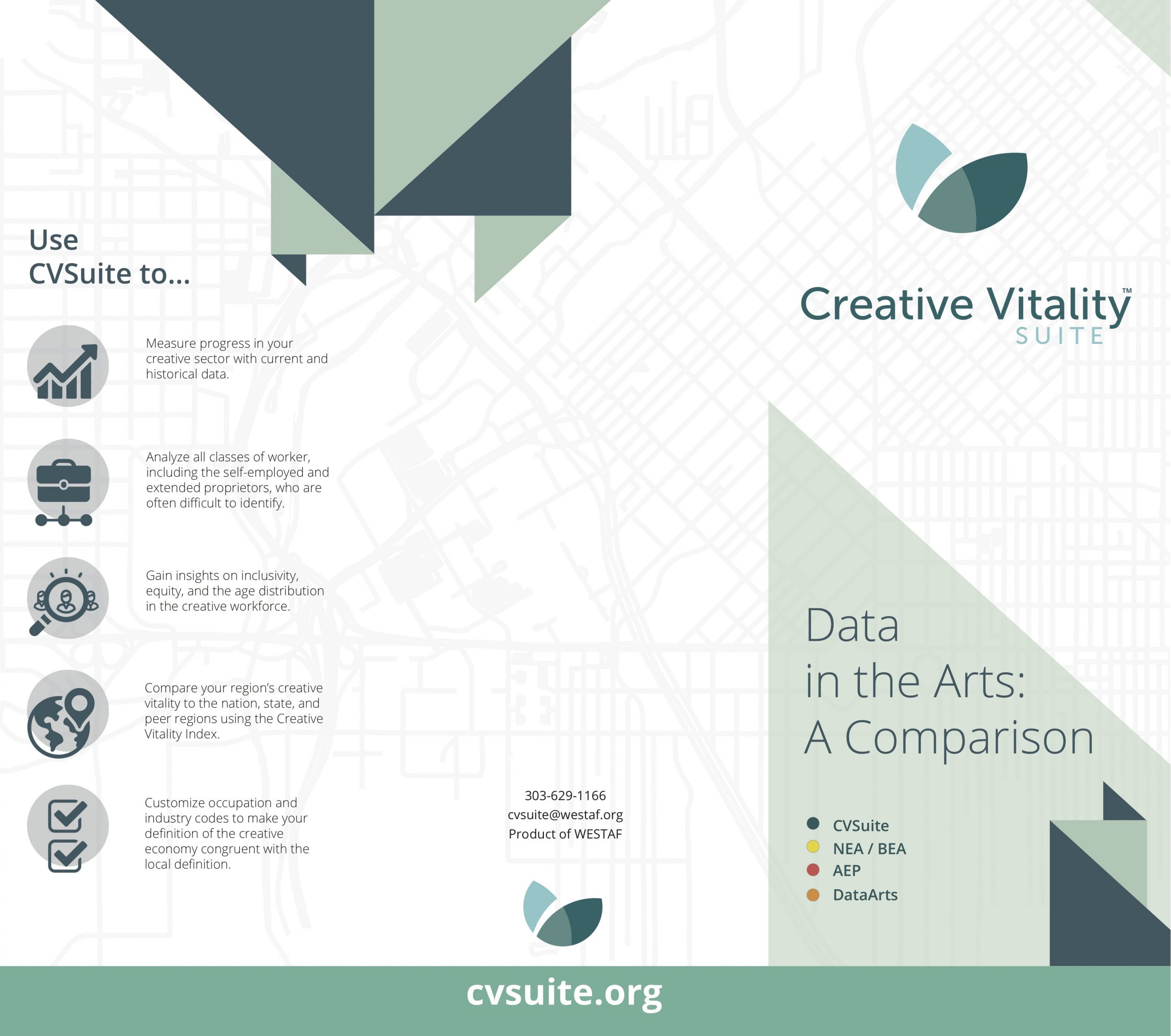 Cover of the data comparison brochure with text that reads Use CVSuite to measure proges, analyze all classes of workers, gain insights on inclusivity, compare region's vitality and customize occupations.