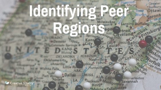 United States map with pins in it with text overlay that reads Identifying peer regions