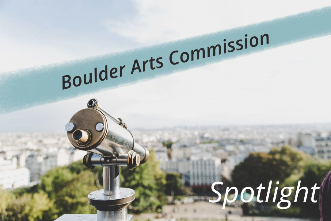 Light blue and white city background with telescope. Boulder Arts Commission title across a light blue painted banner