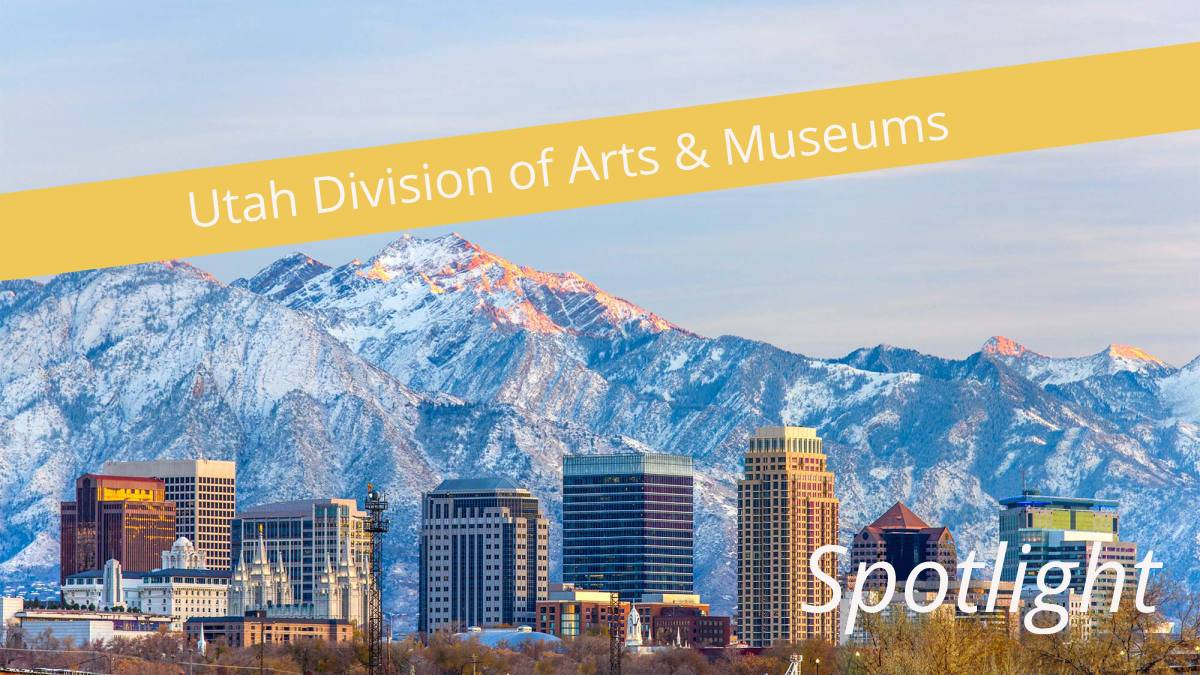 Salt Lake City skyline with a yellow banner that states Utah Division of Arts and Museums