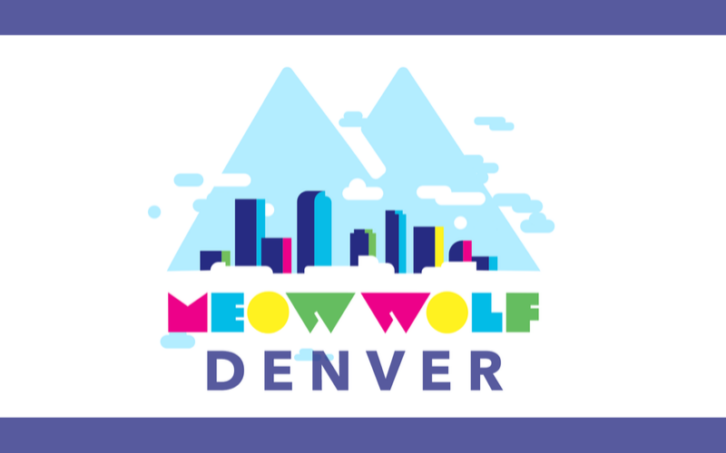 Meow wolf logo with mountain and cities in front representing denver