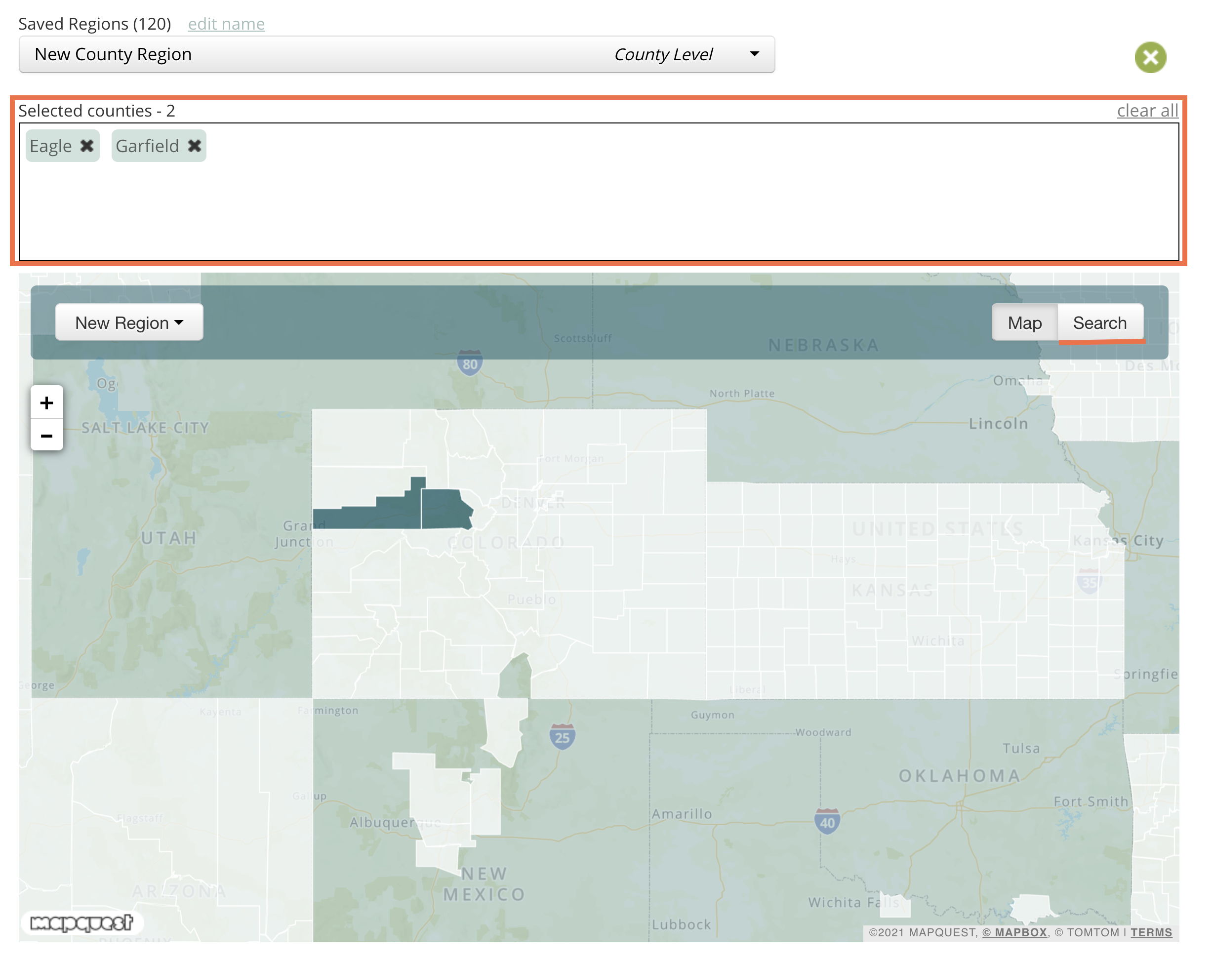 Screenshot of the region selector on the map view.