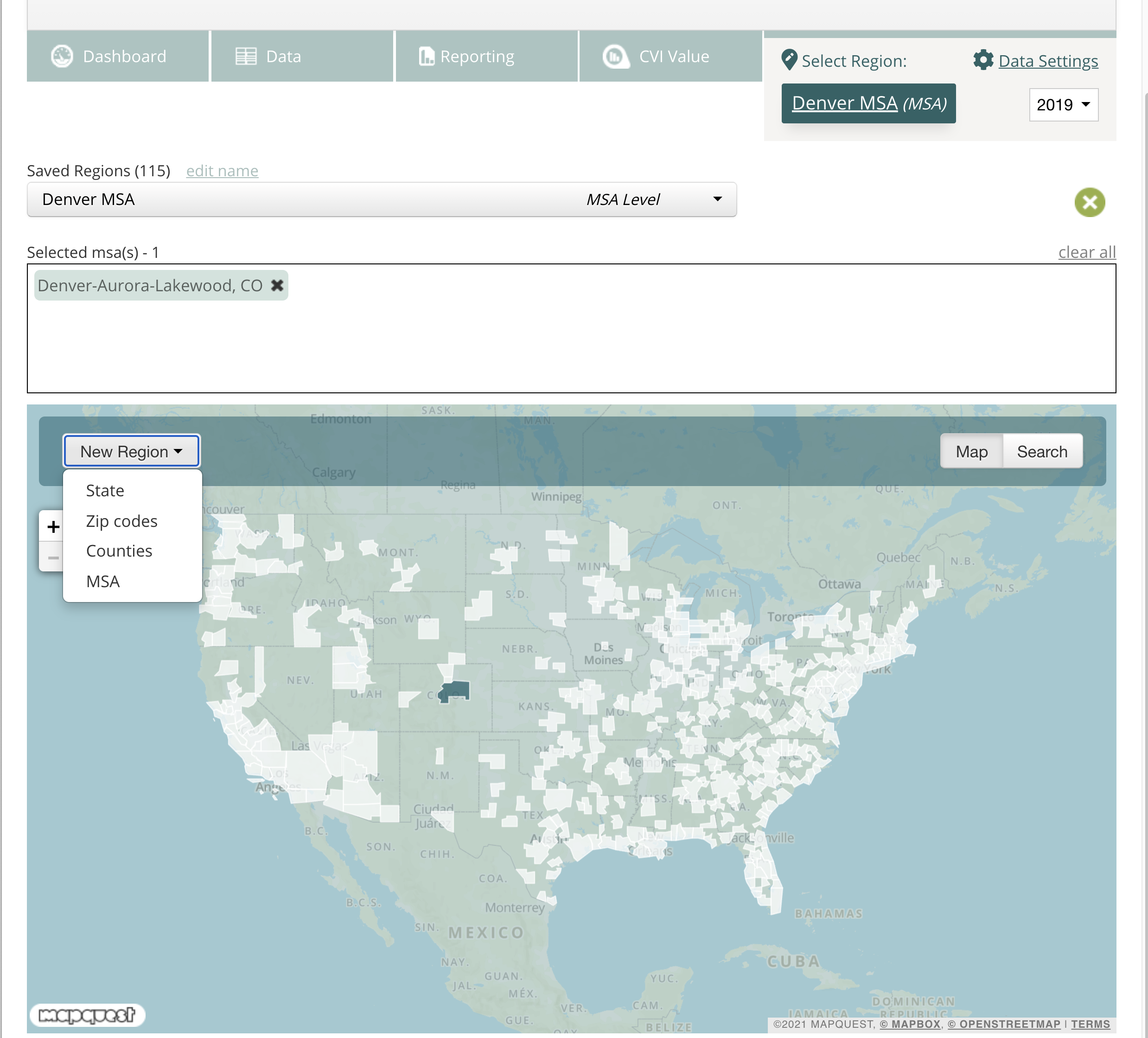 Screenshot of the region selector that includes a map of the US, drop-down to choose region, data year, name of region.