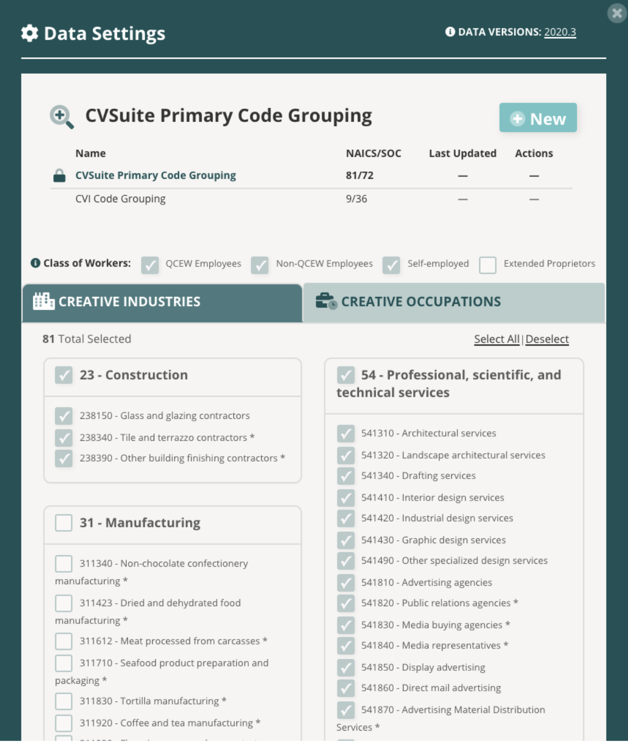 CVSuite Primary Code Grouping Table