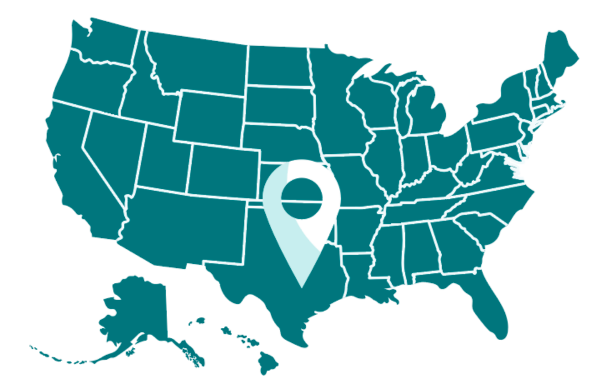 Map of the United States with a location icon.