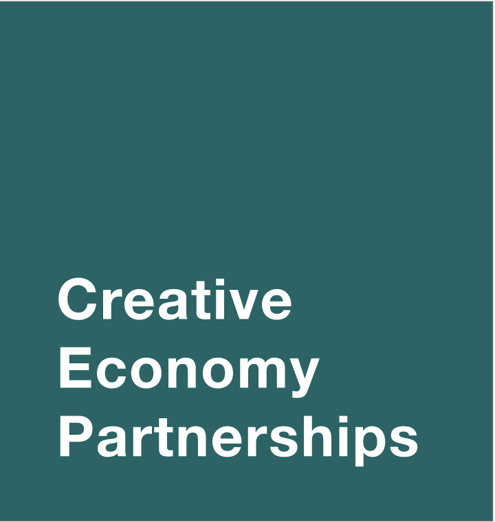 dark background with text that says Creative Economy Partnerships