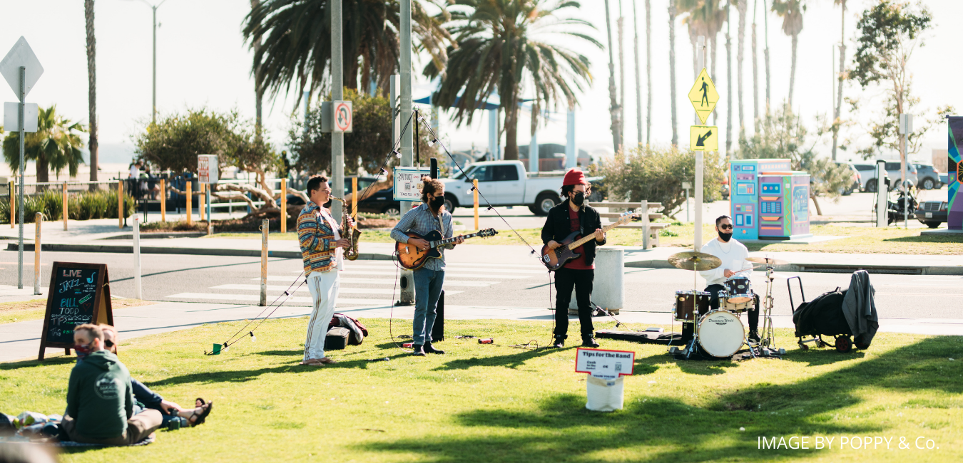 Band playing on the beach in Santa Monica