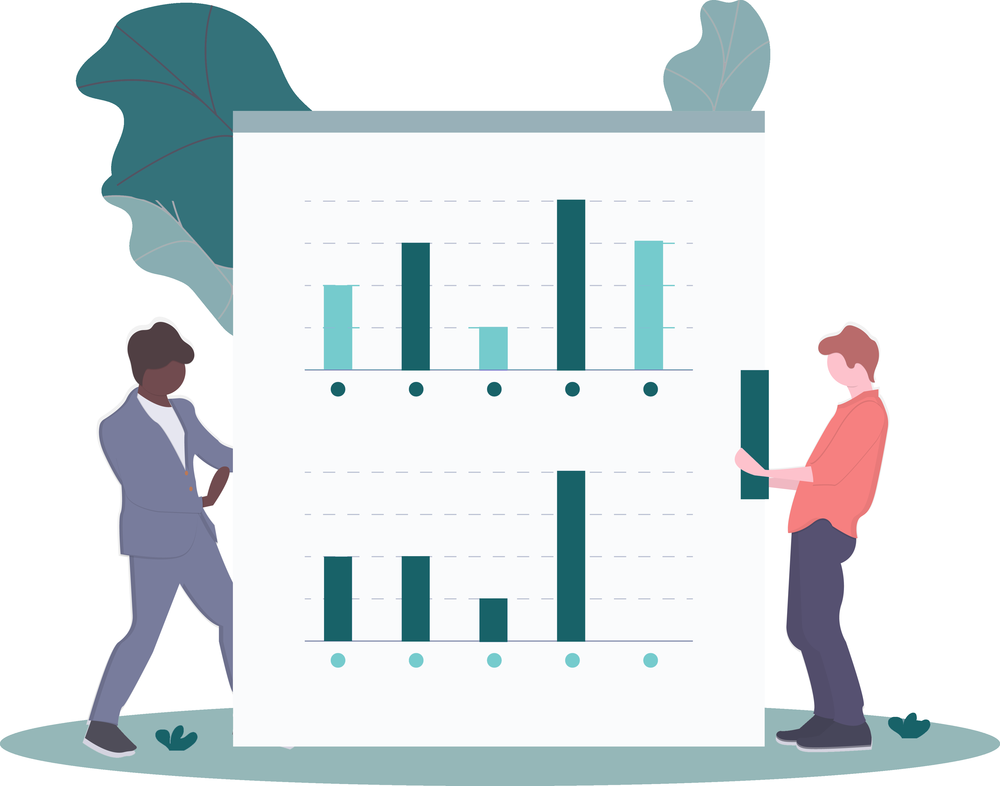 2 people holding up a graph - cartoon drawing